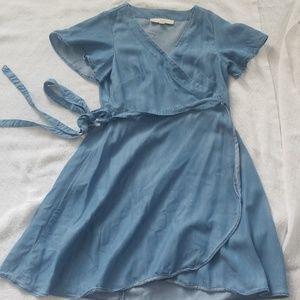 LOFT chambray wrap dress-- Current Season